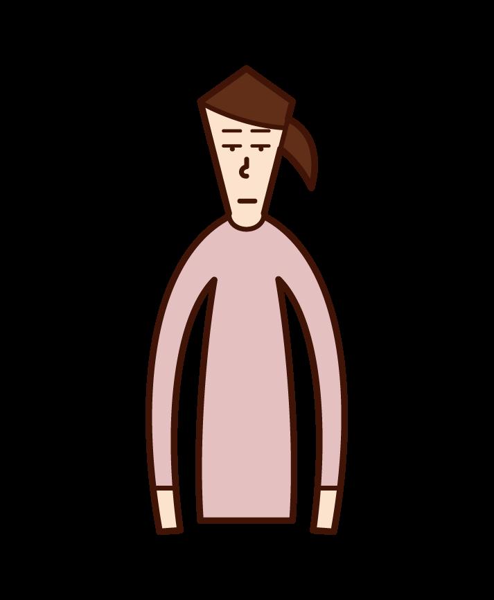 無表情の人(女性)のイラスト