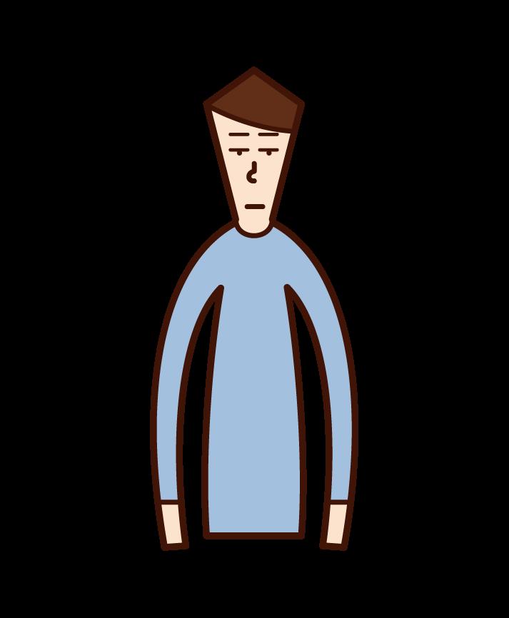 無表情の人(男性)のイラスト