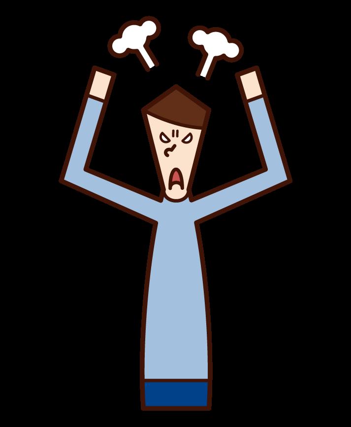 怒って暴れる人(男性)のイラスト