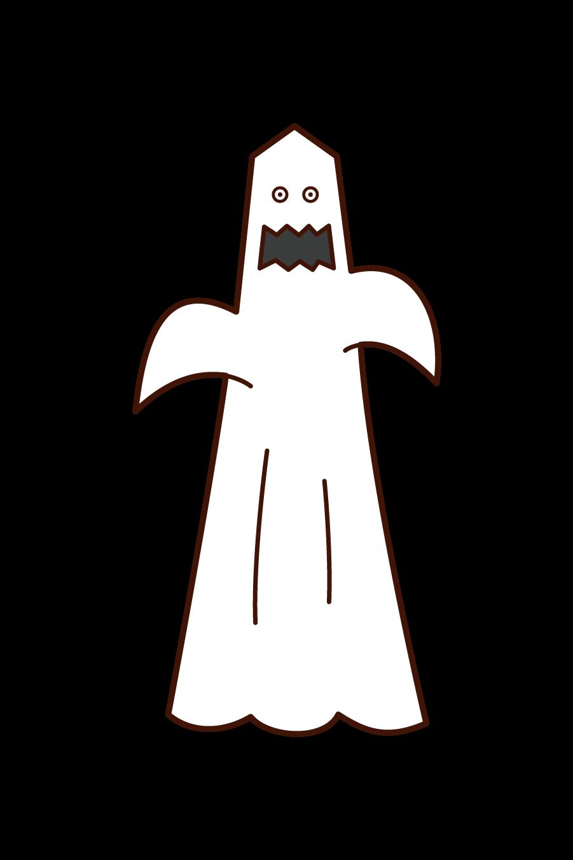 オバケの仮装をした人(ハロウィン)のイラスト
