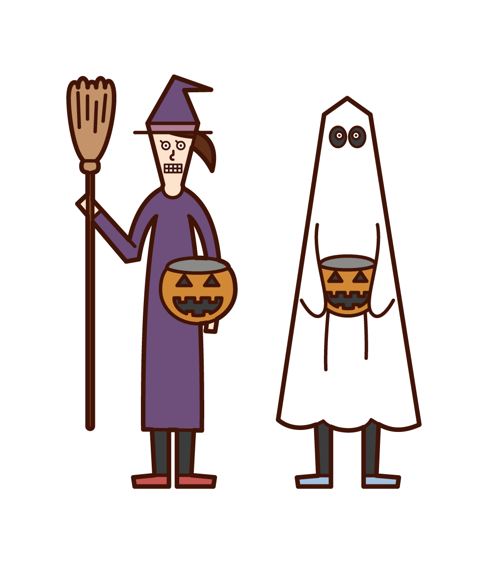 Illustration of children doing trick or treat (Halloween)