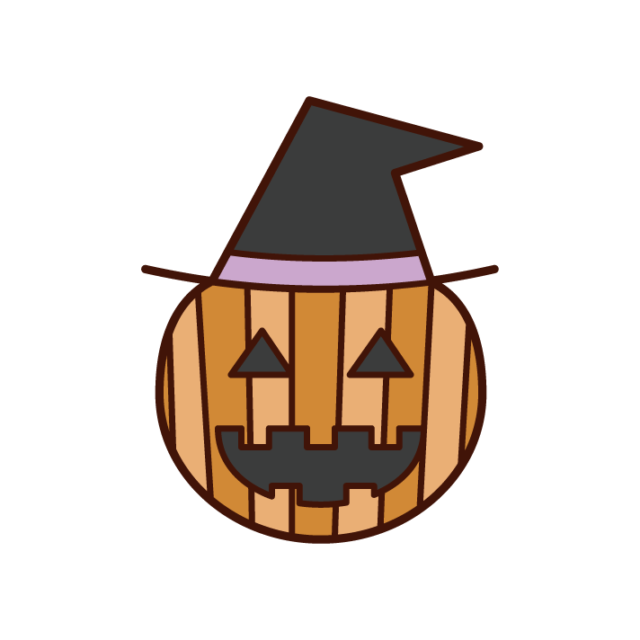Illustration of Jack-o-Lantern (Halloween) wearing a hat
