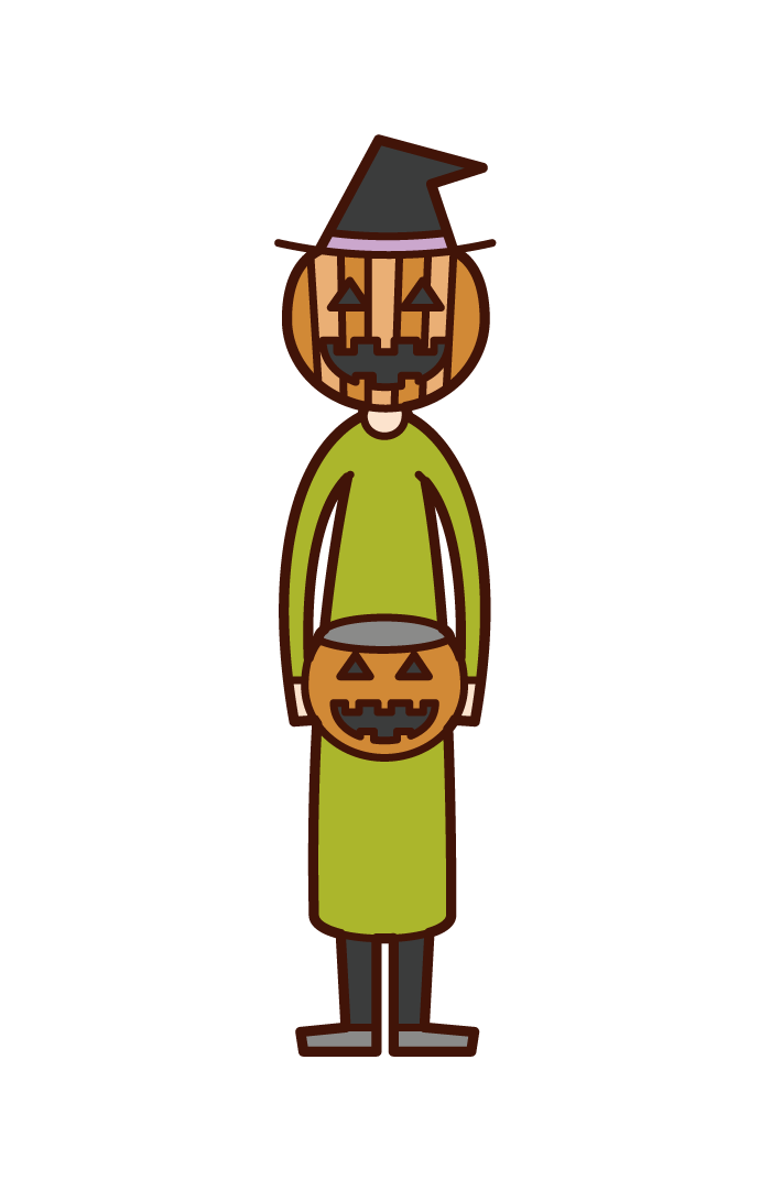 Illustration of a child (Halloween) dressed in a Jack-O-Lantern