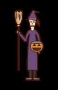 魔女の仮装をした子供(ハロウィン)のイラスト