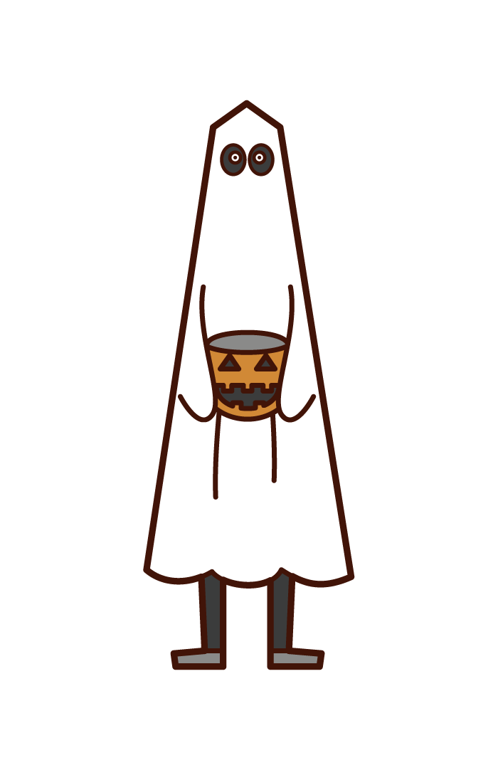 Illustration of a child dressed as a ghost (Halloween)