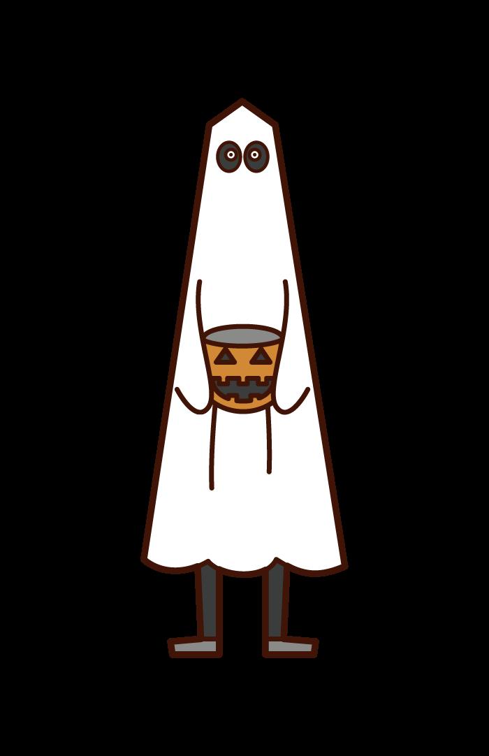 オバケの仮装をした子供(ハロウィン)のイラスト