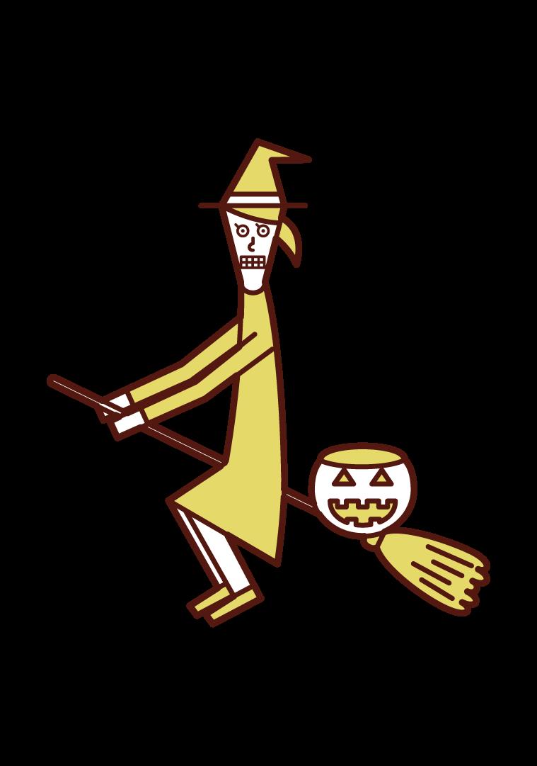 空を飛ぶ魔女の仮装をした子供(ハロウィン)のイラスト