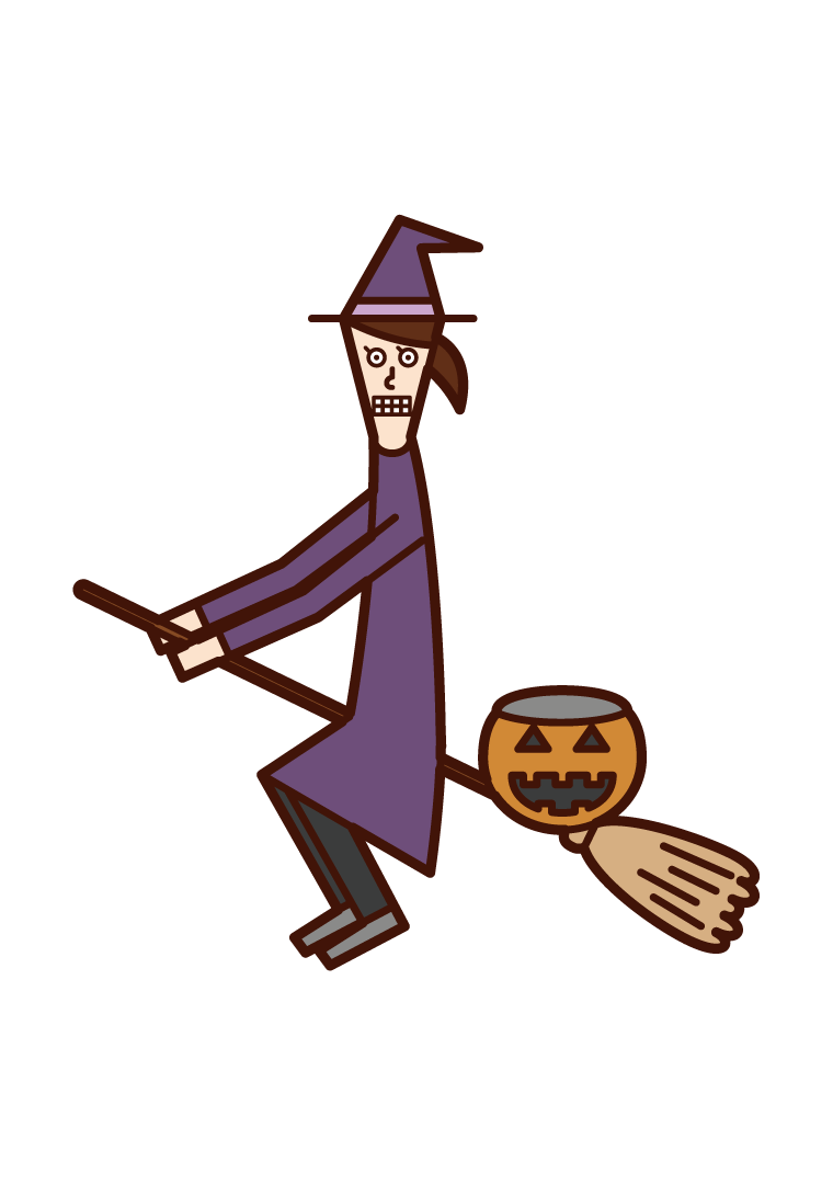 Illustration of a child (Halloween) dressed as a flying witch