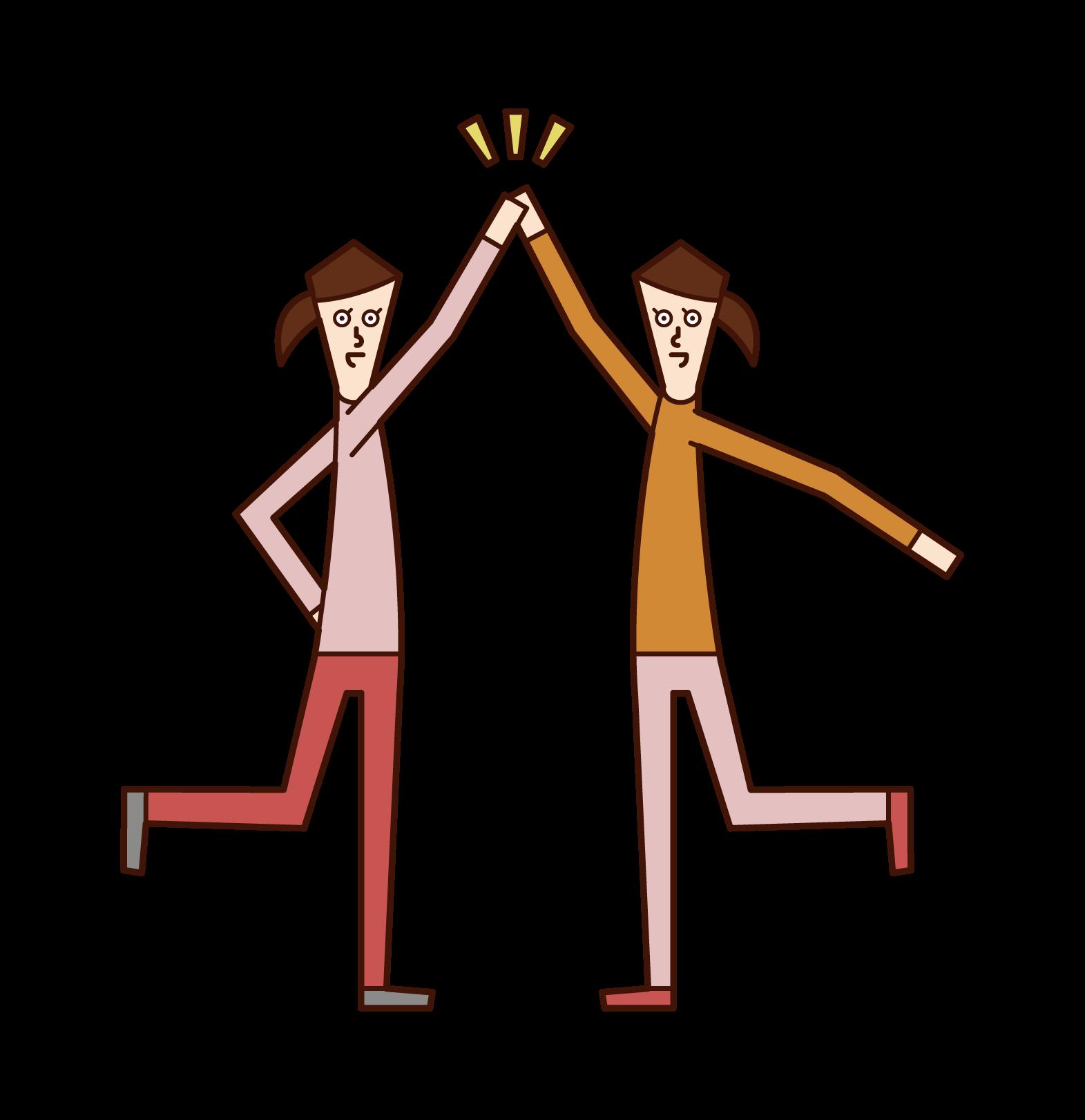 ハイタッチをする人(女性)のイラスト