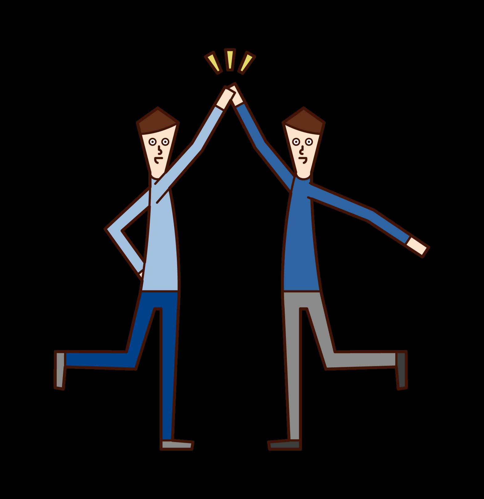 ハイタッチをする人たち(男性)のイラスト
