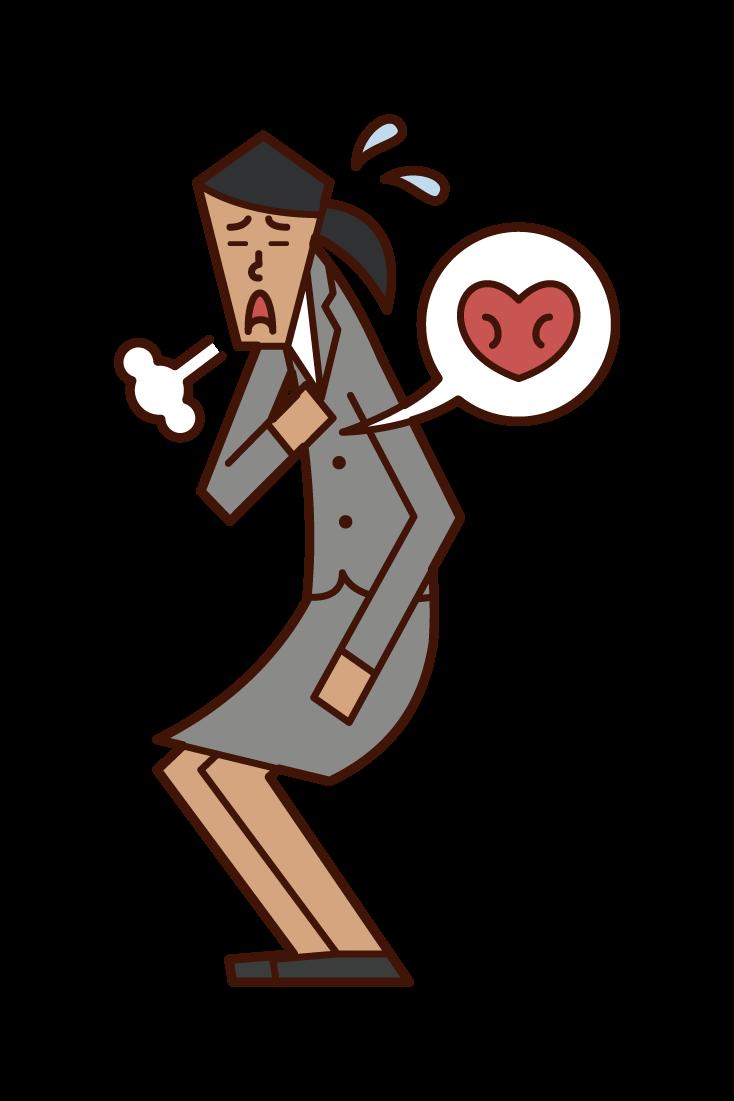 動悸を感じる人(女性)のイラスト