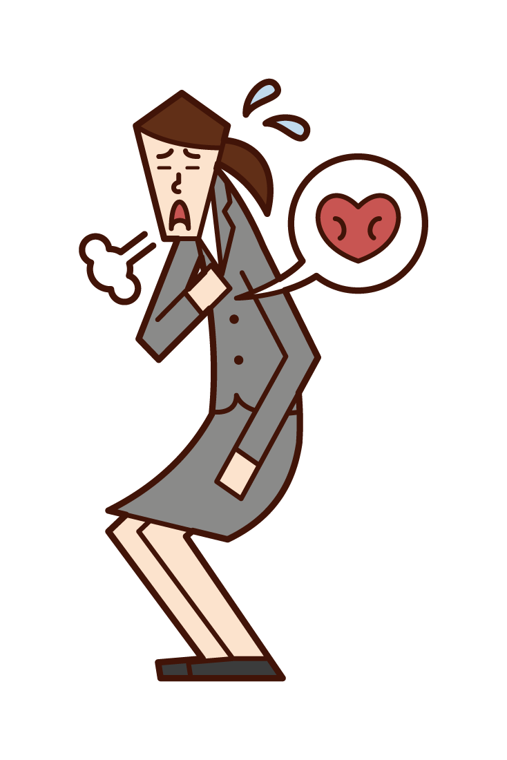 Illustration of a person (female) who feels palpitations