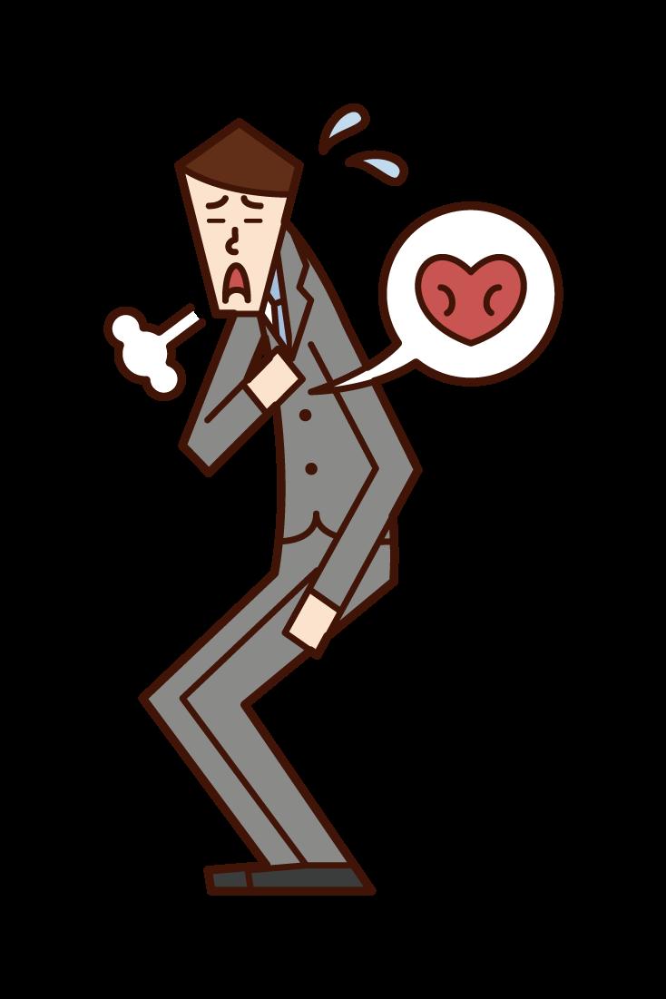 動悸を感じる人(男性)のイラスト