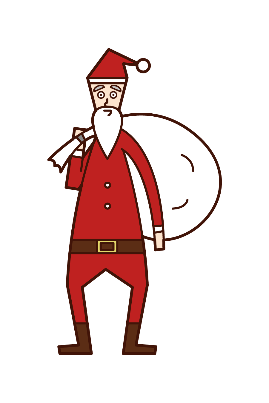 Illustration of Santa Claus with a big bag