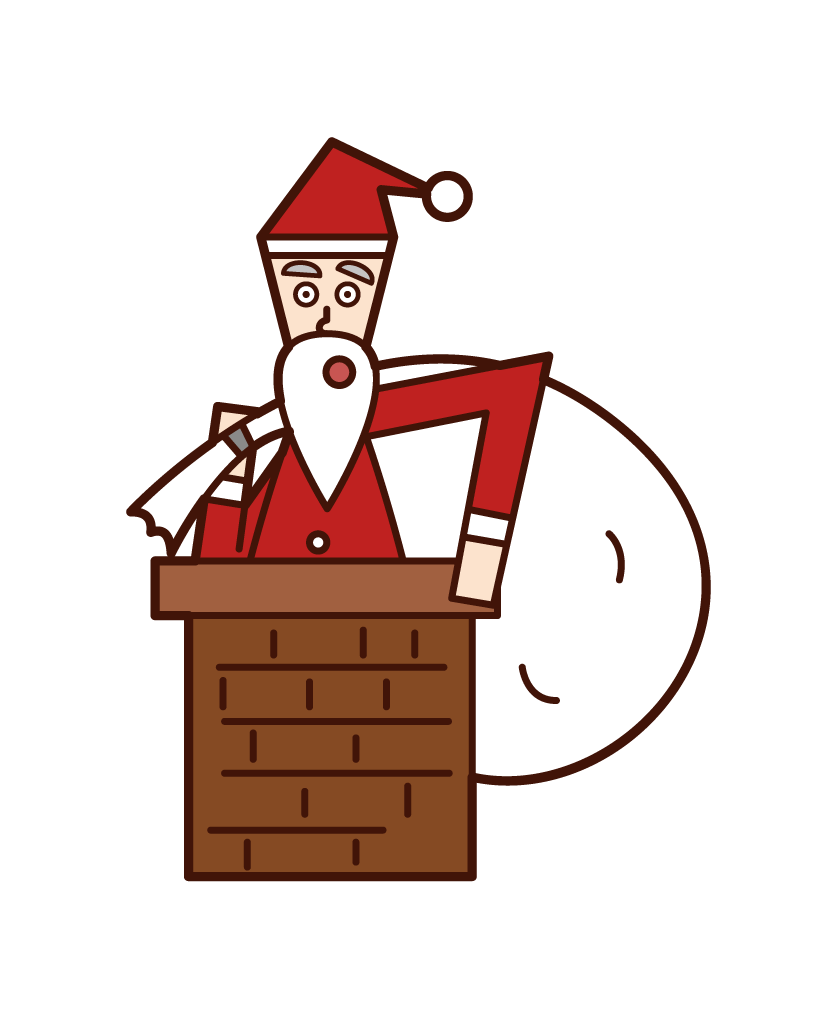 Illustration of Santa Claus entering the chimney