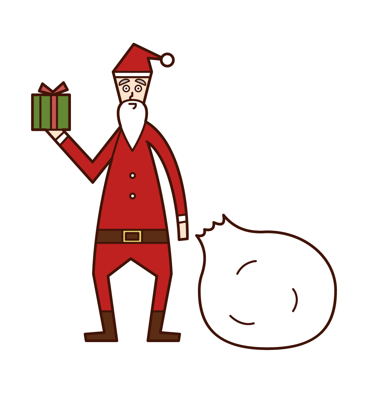 Illustration of Santa Claus passing a present