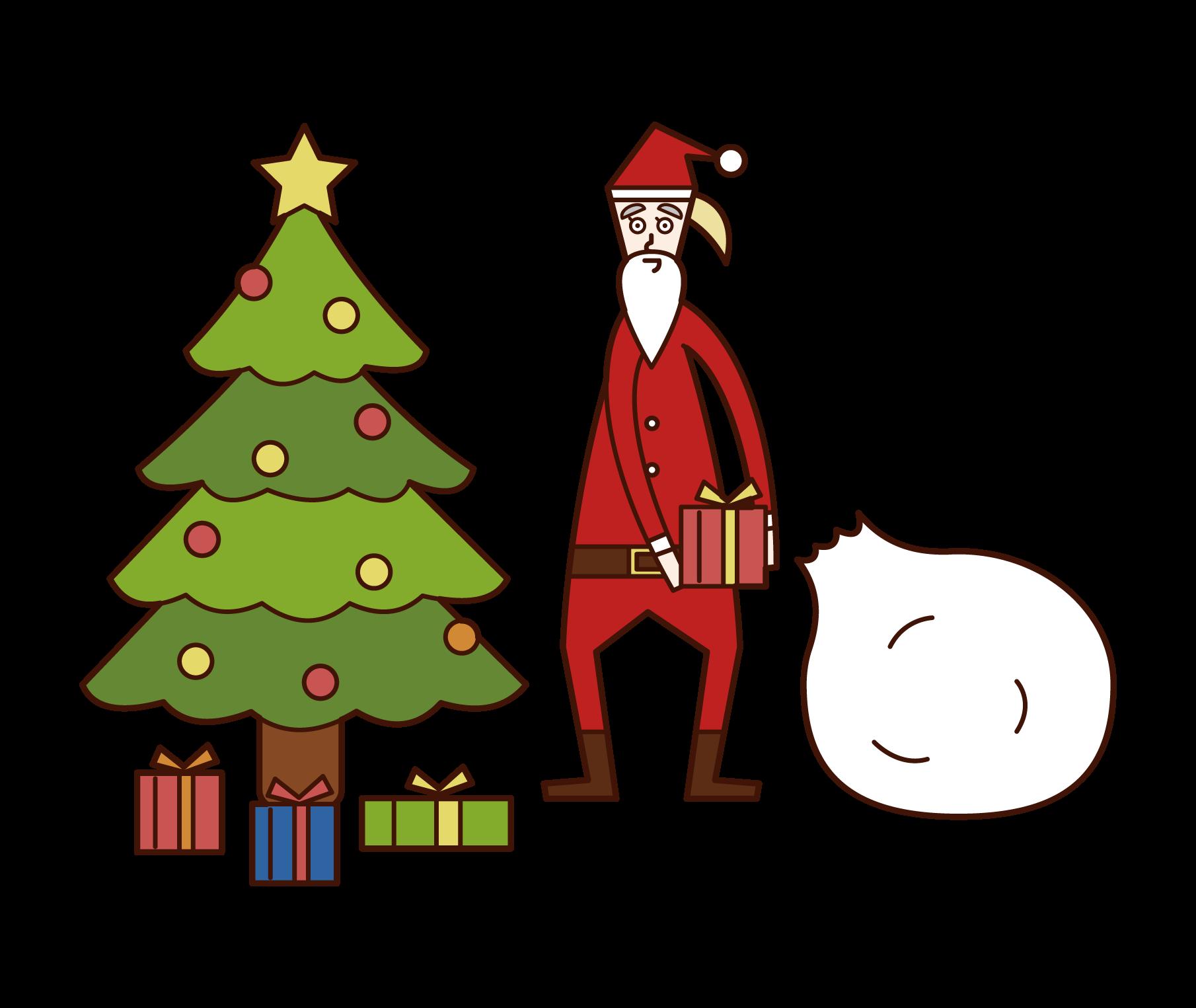 クリスマスツリーの下にプレゼントを並べるサンタクロース(女性)のイラスト
