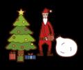 クリスマスツリーの下にプレゼントを並べるサンタクロース(男性)のイラスト