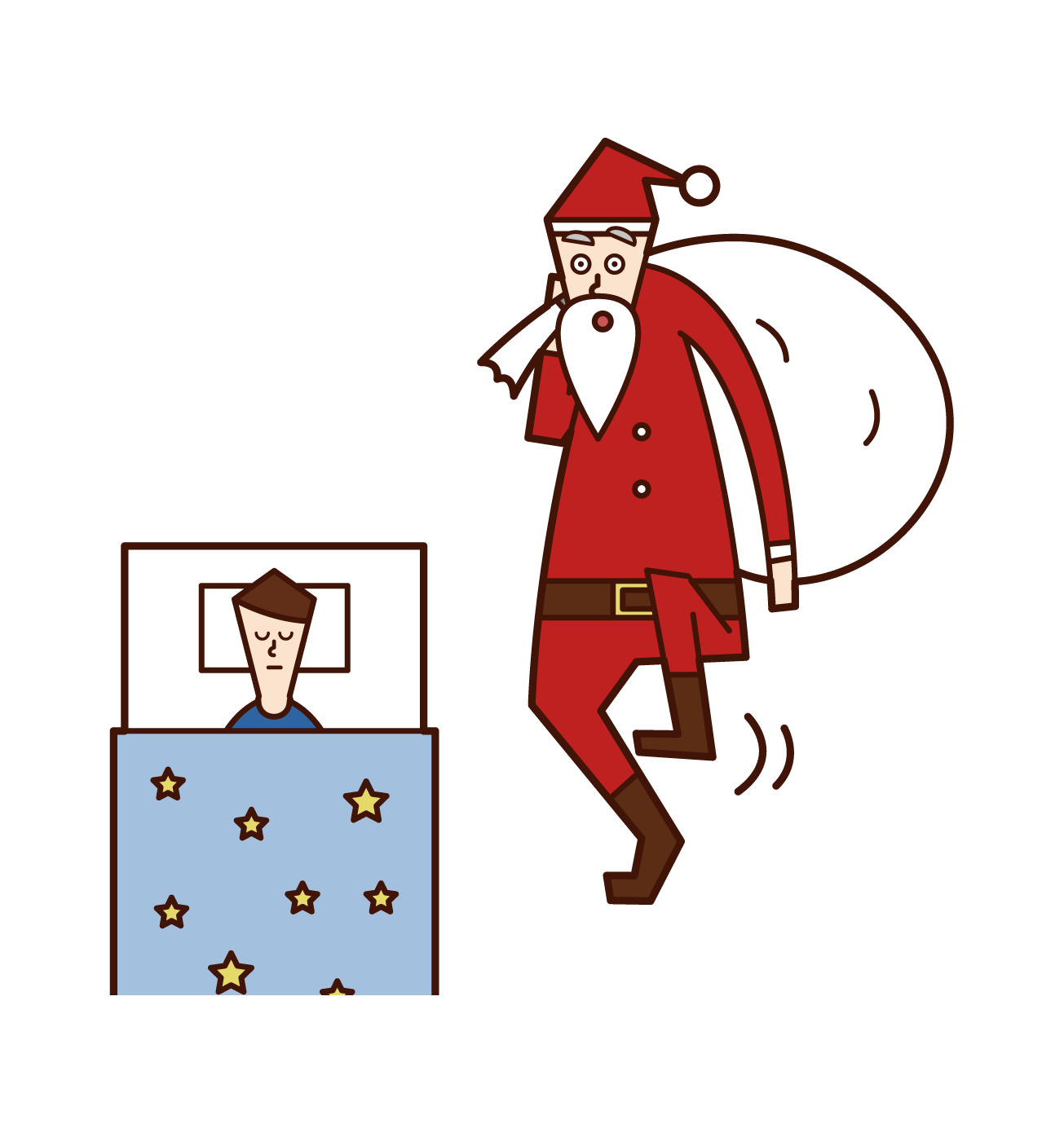 Illustration of Santa Claus giving a present to a sleeping child