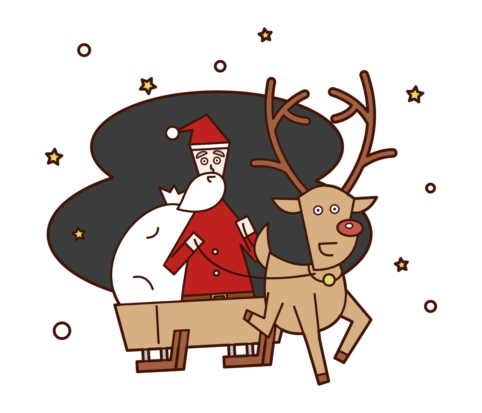 Illustration of Santa Claus on a reindeer and sled