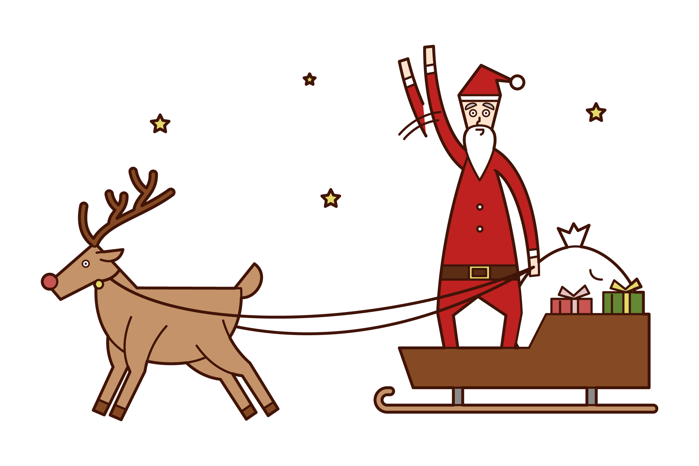 Illustration of Santa Claus waved from the top of a sled