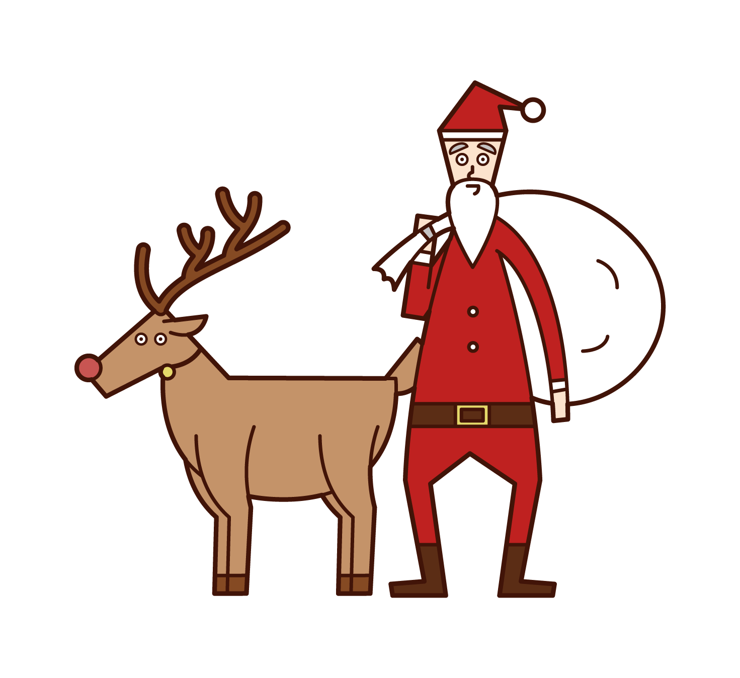 Reindeer and Santa Claus Illustrations