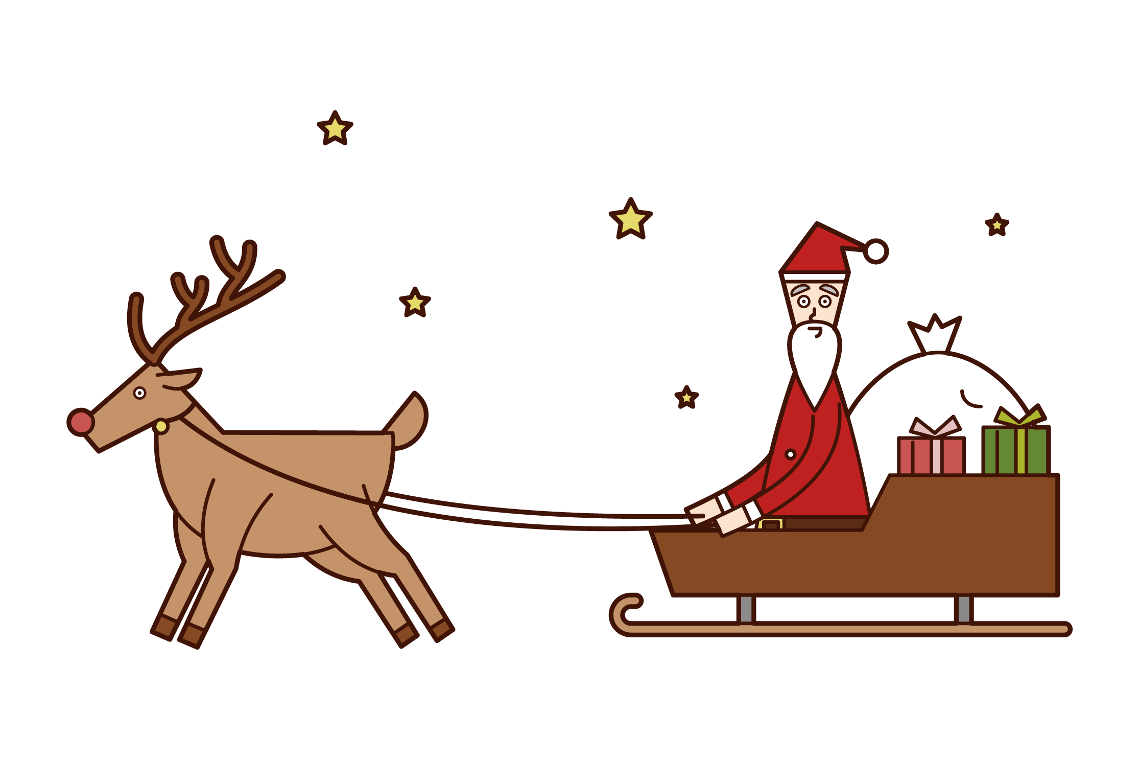 Illustration of Santa Claus on a Sleigh