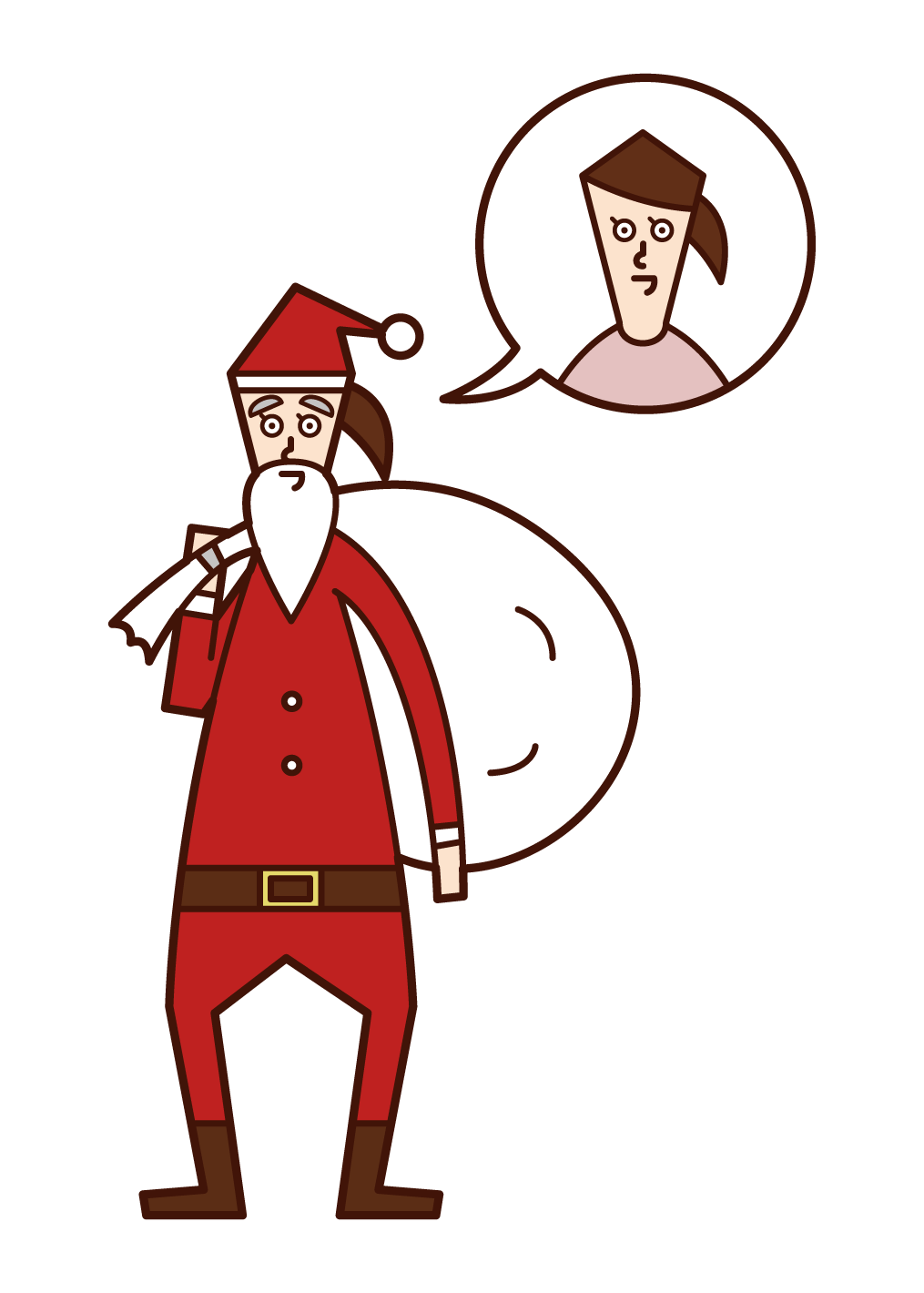 Illustration of Santa Claus (Woman) disguised by her mother