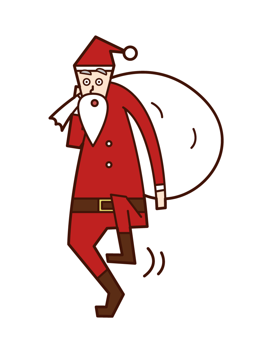 Illustration of Santa Claus walking quietly