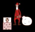 枕元にプレゼントを置くサンタクロースのイラスト