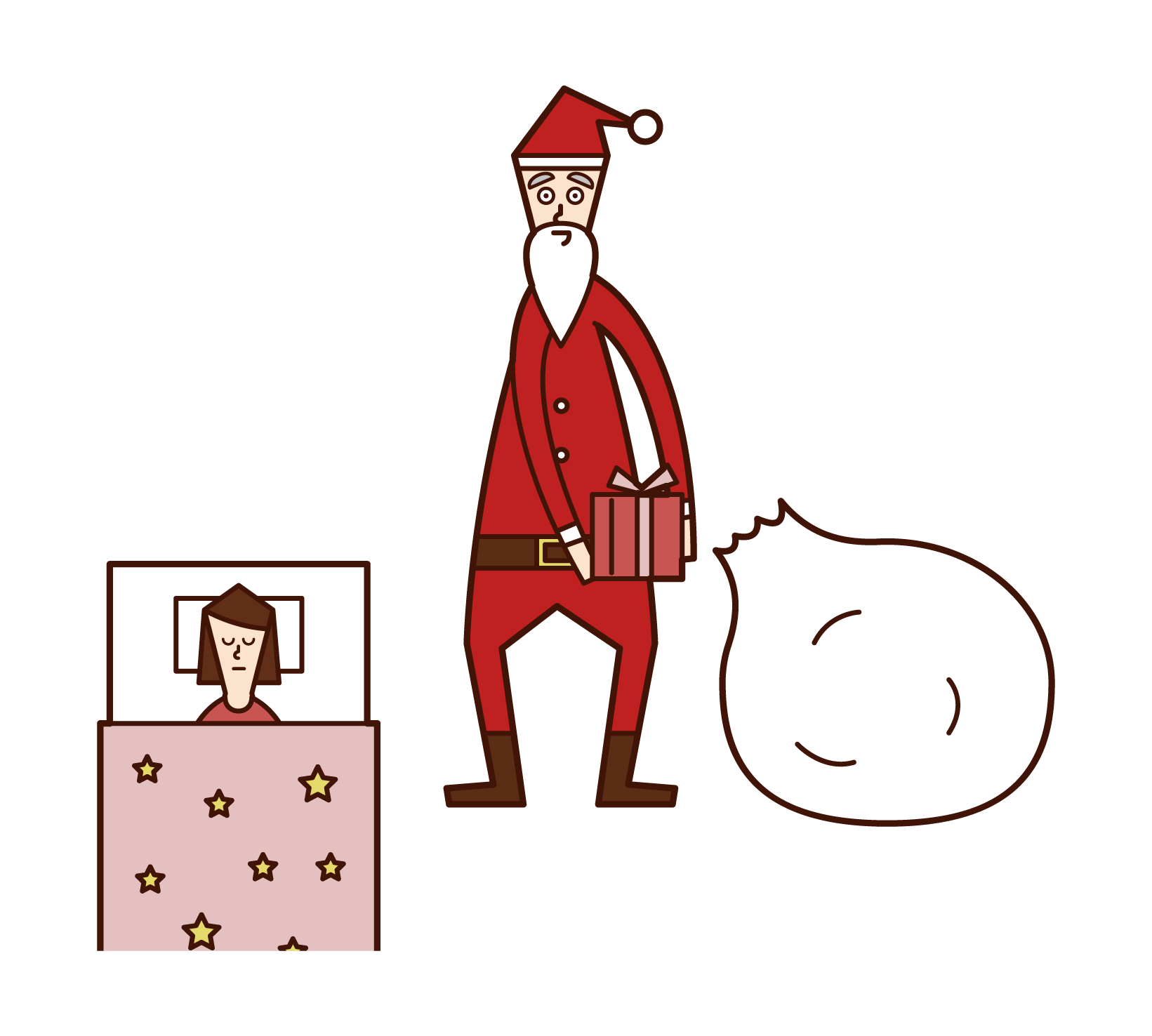 Illustration of Santa Claus putting a present at the bedside