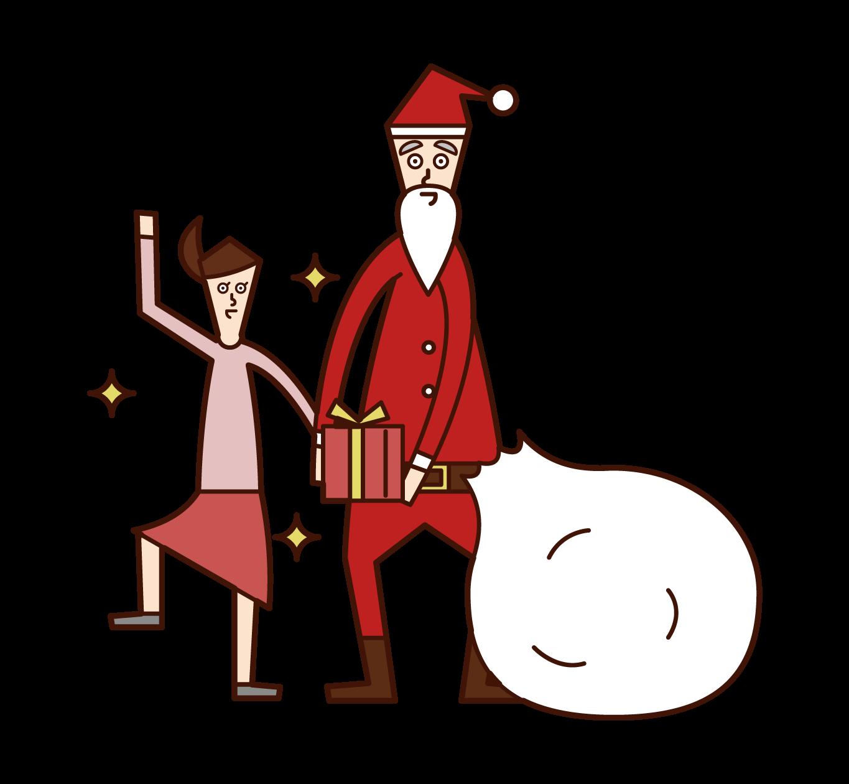 子供にプレゼントをあげるサンタクロースのイラスト