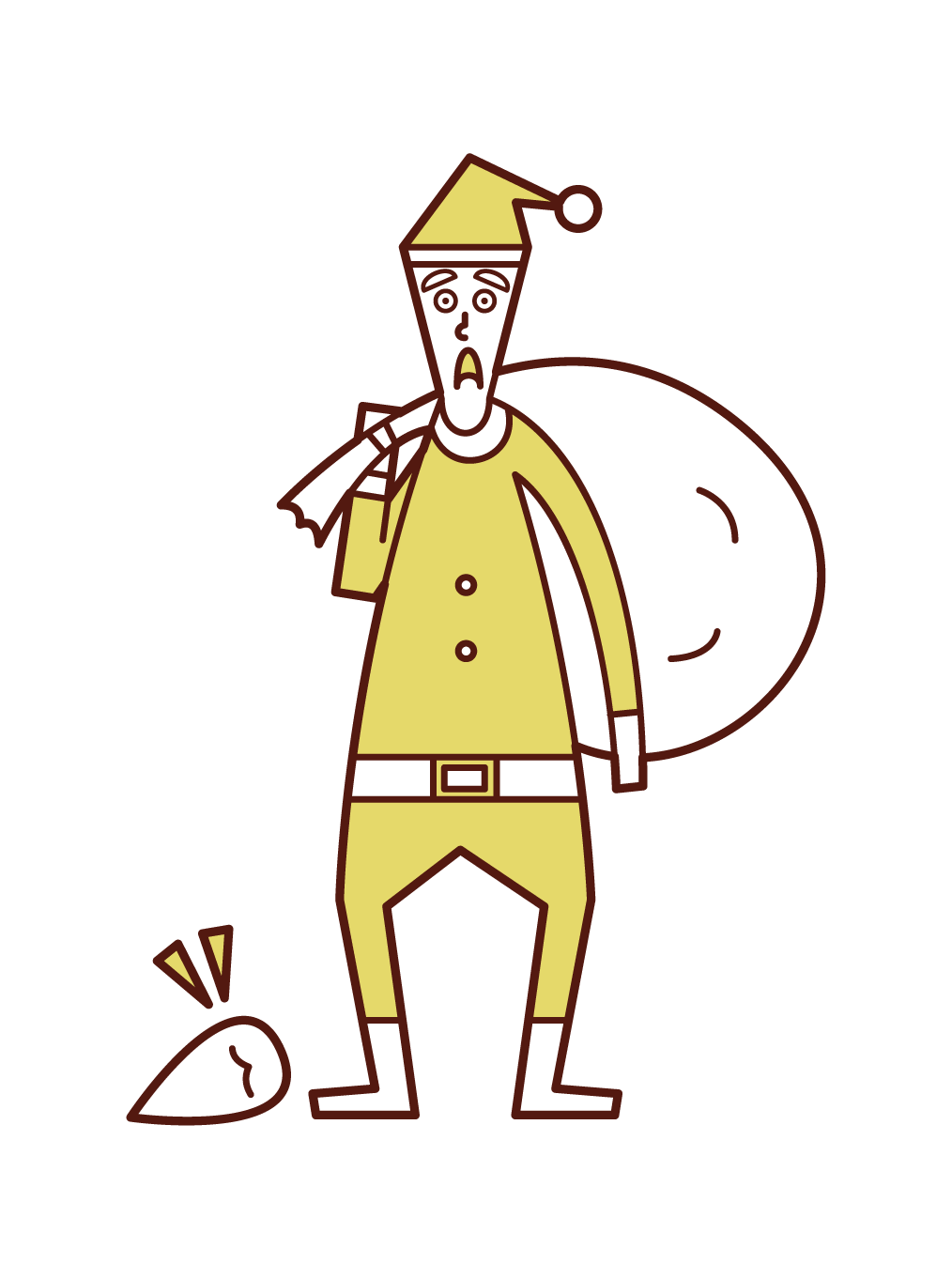 付け髭を落としたサンタクロース(男性)のイラスト
