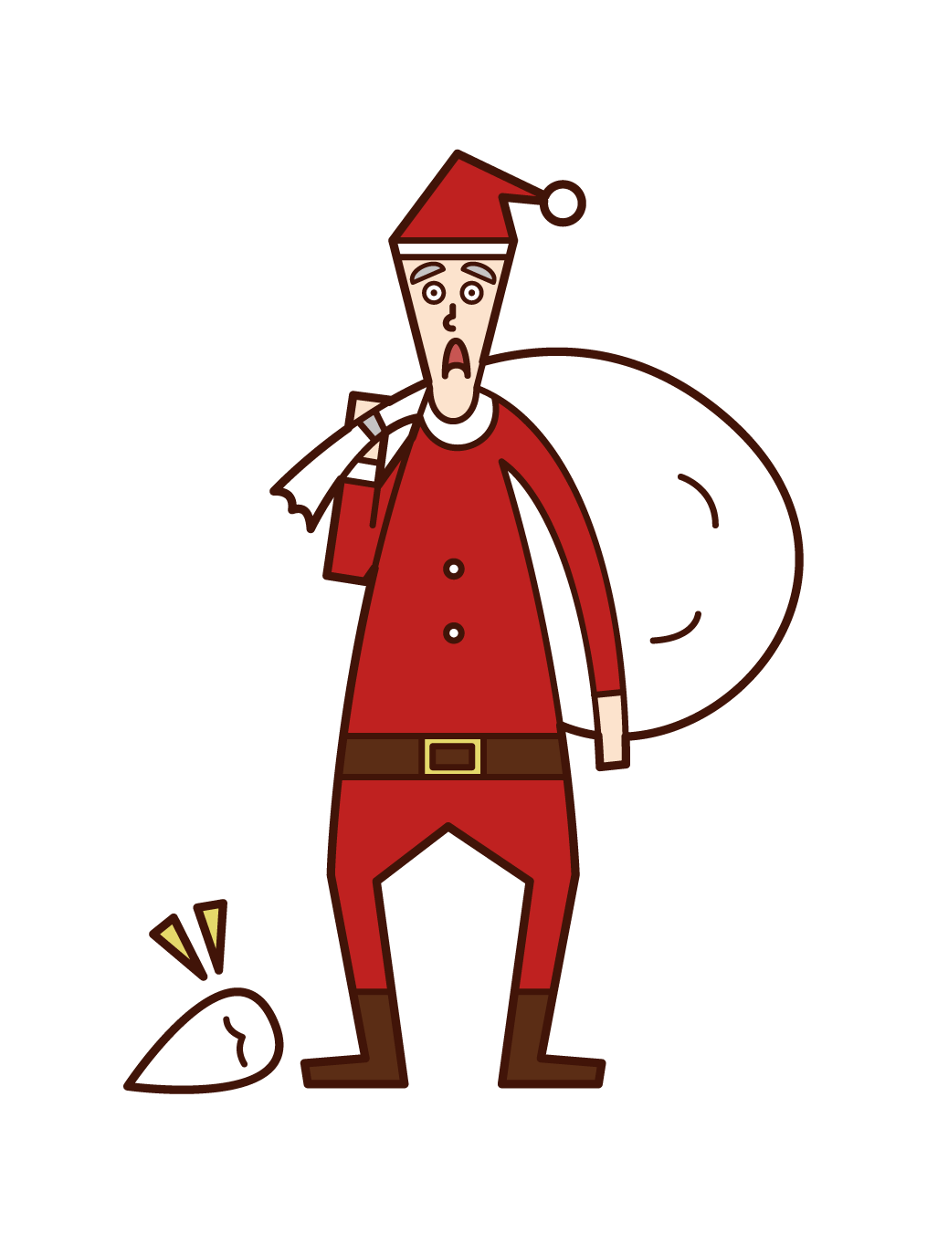 Illustration of Santa Claus (man) who dropped the axe