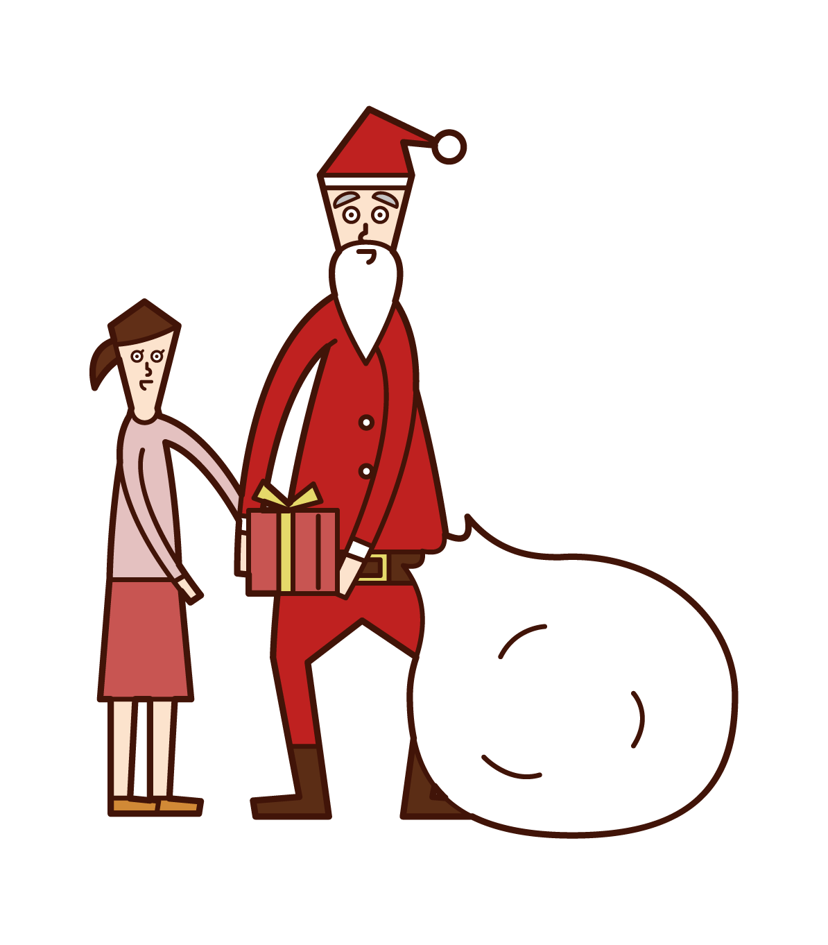 Illustration of Santa Claus giving presents to children