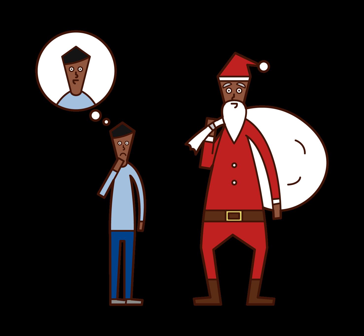 サンタクロースの正体を疑う子供(少年)のイラスト