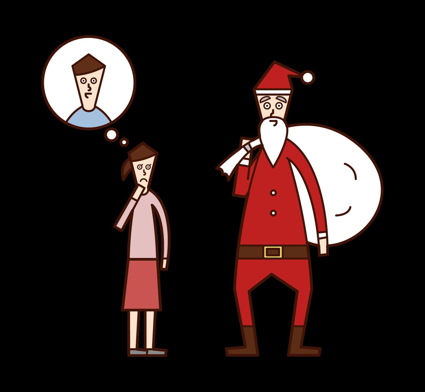 サンタクロースの正体を疑う子供(少女)のイラスト
