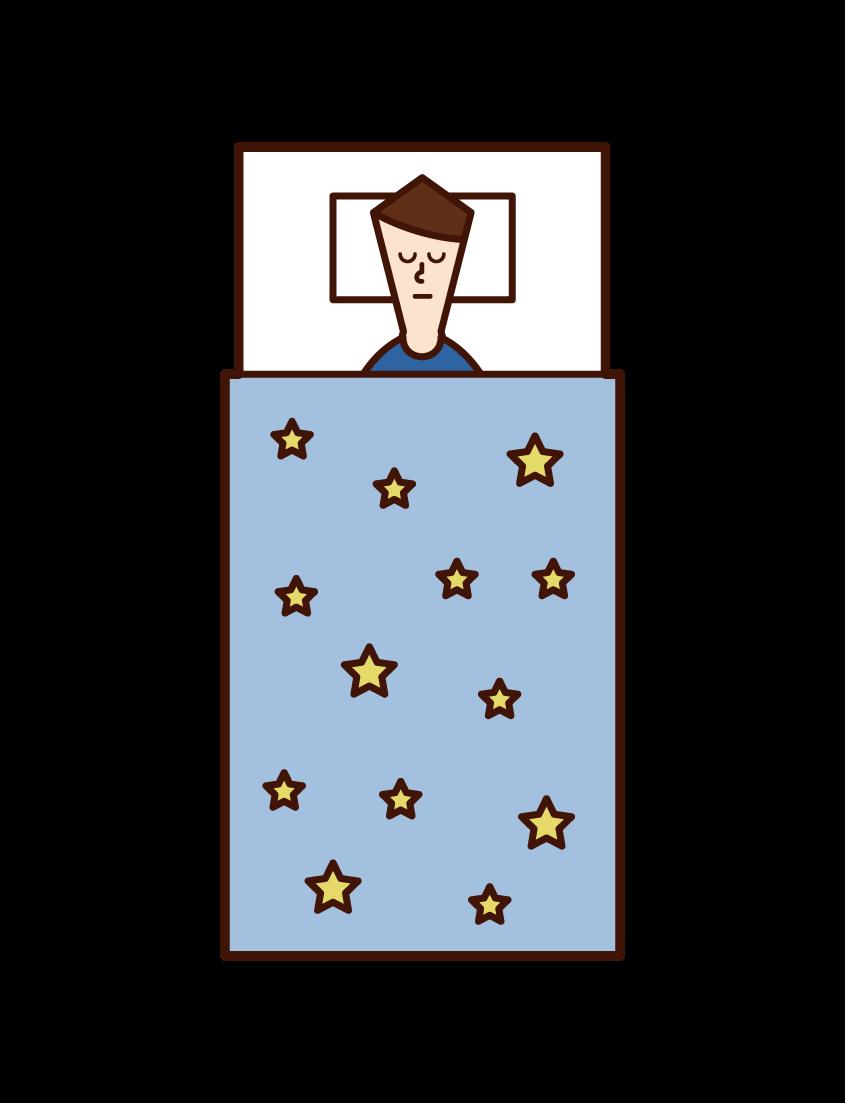 寝ている子供(少年)のイラスト