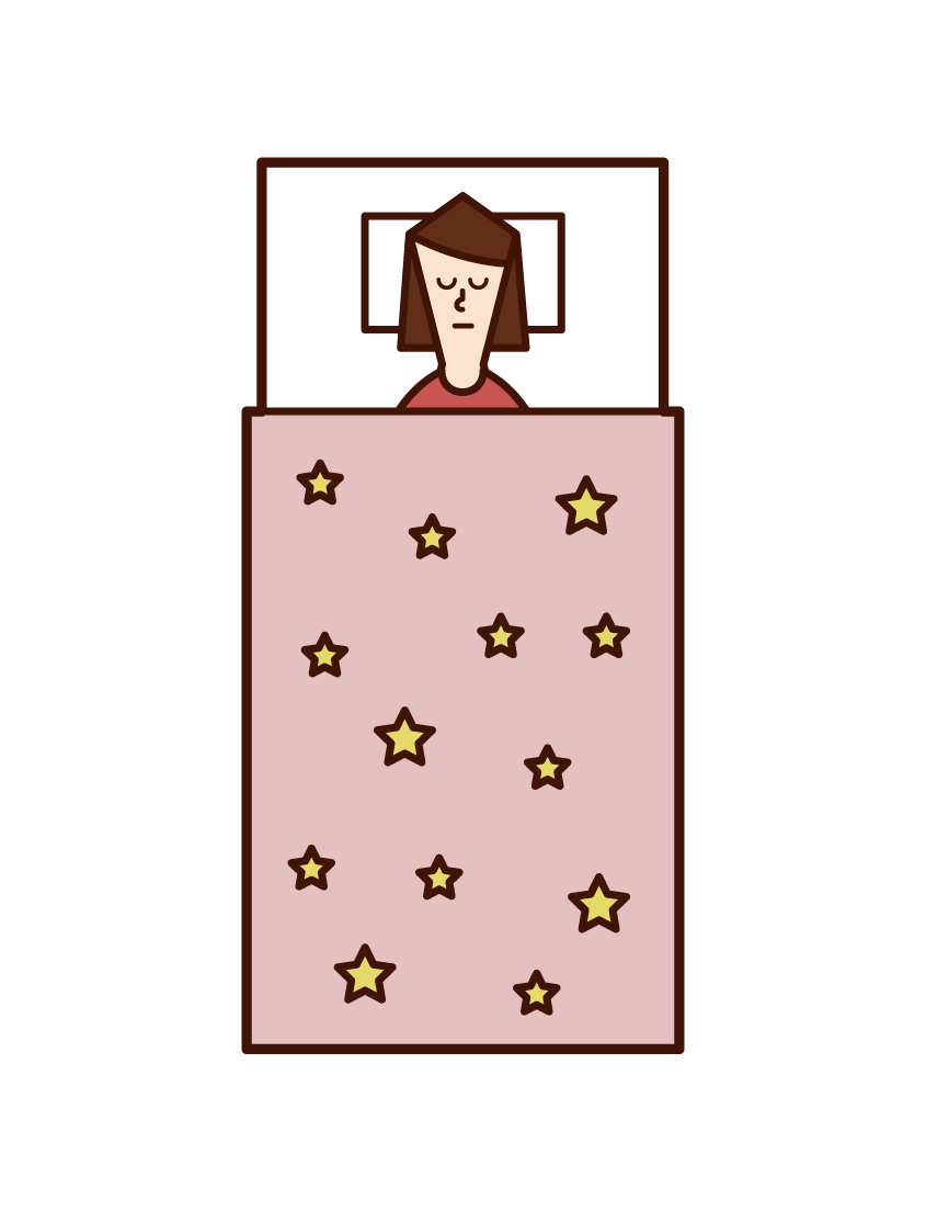 寝ている子供(少女)のイラスト