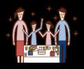 パーテイーを楽しむ家族のイラスト