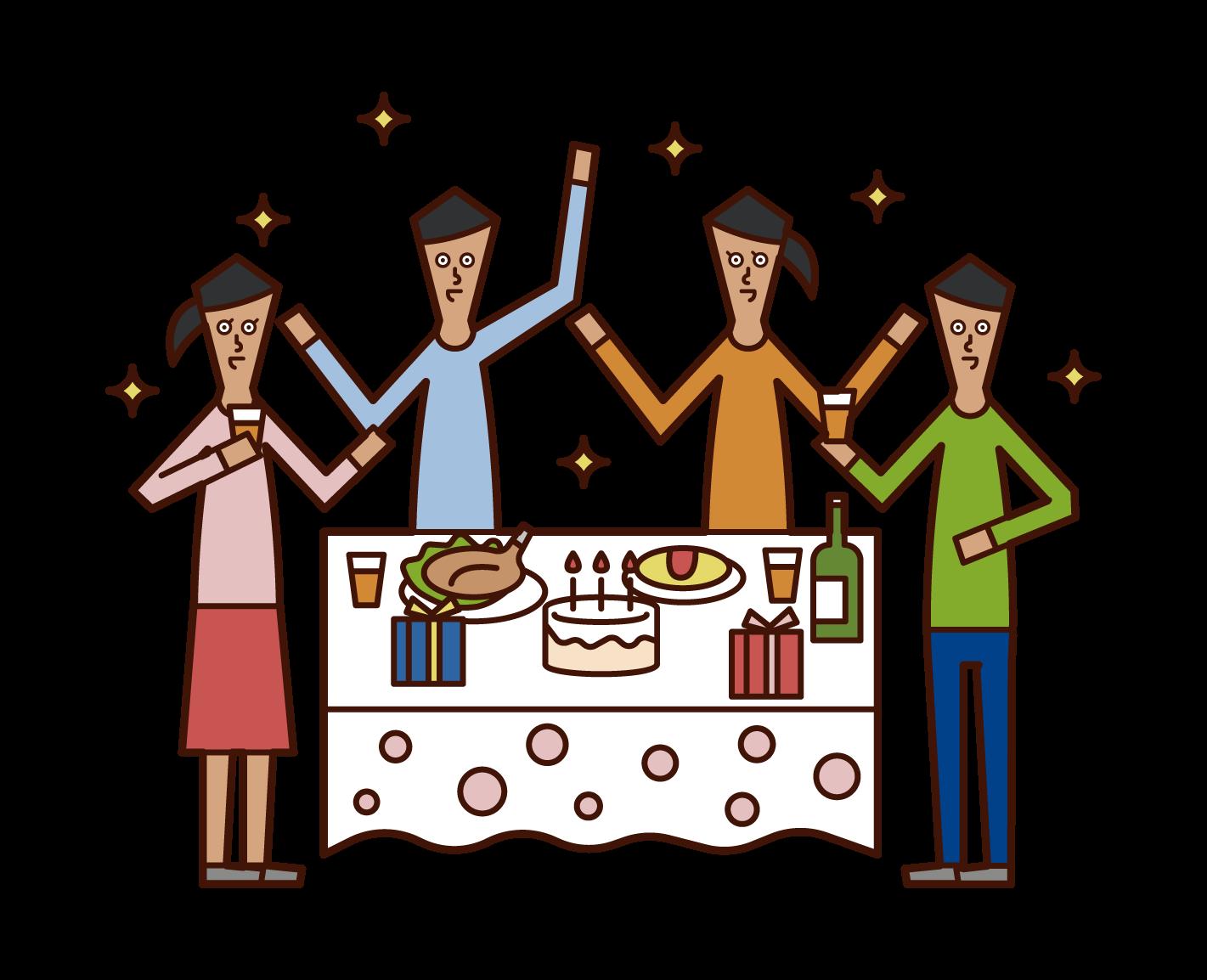 パーティーを楽しむ子供たちのイラスト