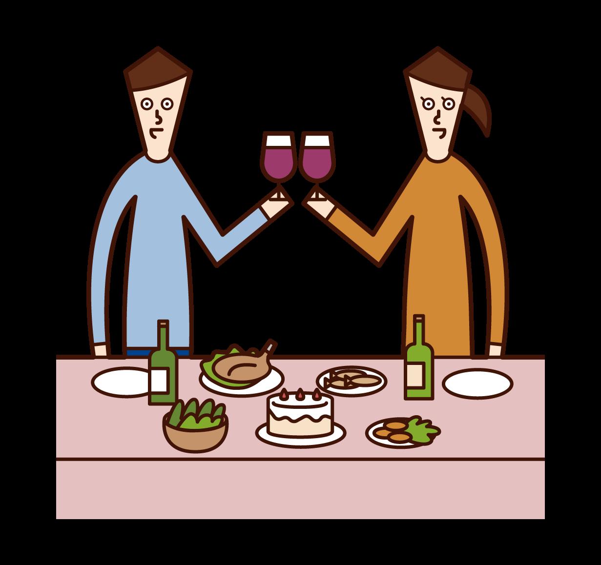 乾杯をする人たち(男女)のイラスト