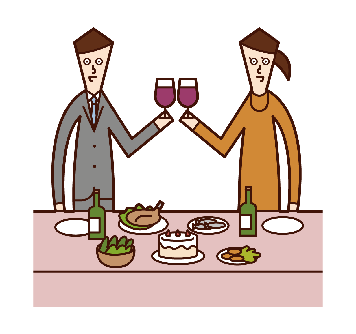Illustrations of people (men and women) toasting at a party