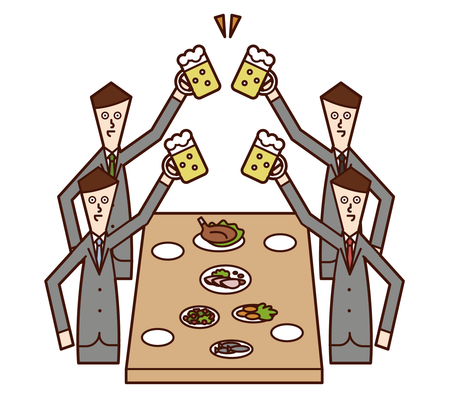 飲み会で乾杯する人たち(男性)のイラスト