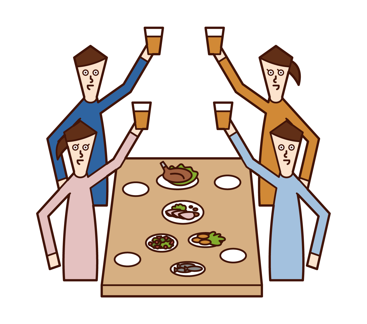 立食パーティーで乾杯する人たち(男女)のイラスト