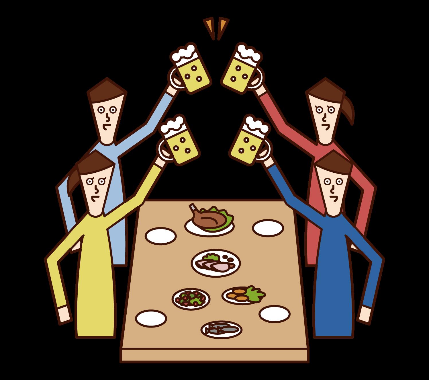 飲み会で乾杯する人たち(男女)のイラスト