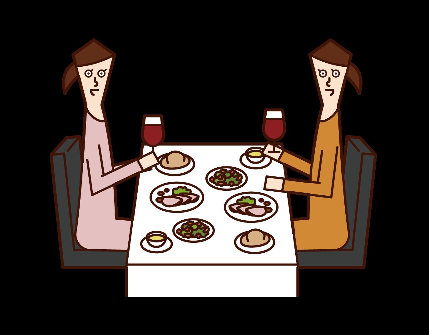 Illustration of people (women) eating dinner at a restaurant