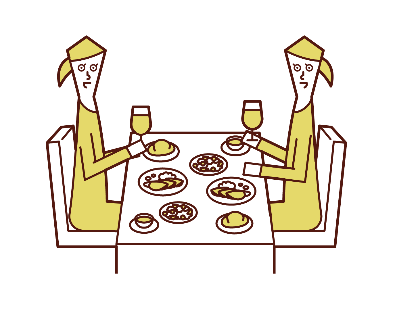 レストランでディナーを食べる人たち(女性)のイラスト