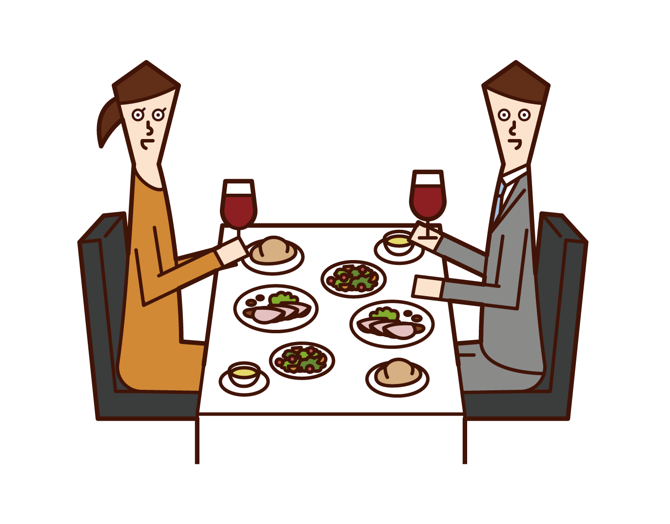 Illustration of a couple (men and women) inging for dinner at a restaurant