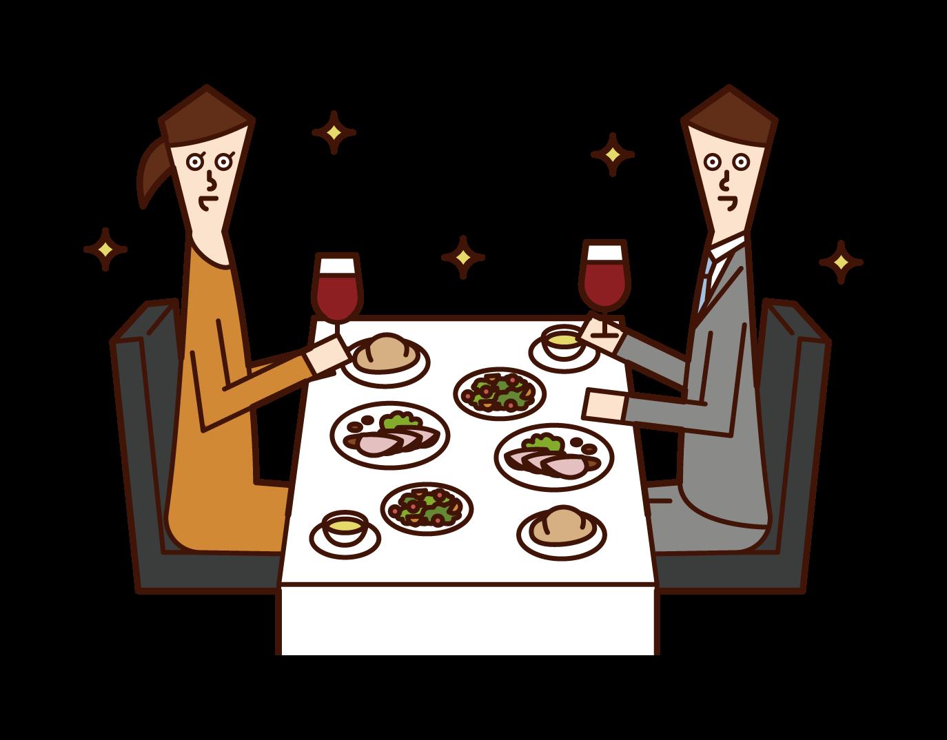レストランでディナーを食べるカップル(男女)のイラスト
